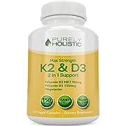 Vitamin D3 125mcg and Vitamin K2 90mcg MK7 - 4 Month Supply 150 Vegetarian Capsules - Vitamin D3 & K2 - High Strength Cholecalciferol - K2 Menaqunione - Made in The USA