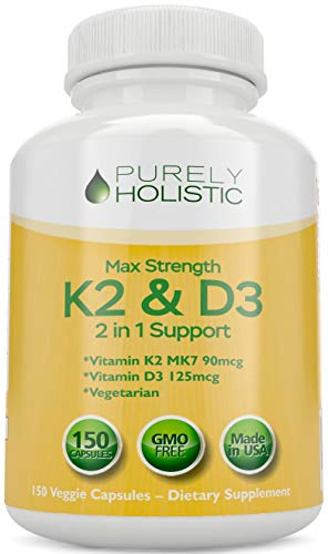 Vitamin D3 125mcg and Vitamin K2 90mcg MK7 - 4 Month Supply 150 Vegetarian Capsules - Vitamin D3 & K2 - High Strength Cholecalciferol - K2 Menaqunione - Made in The USA