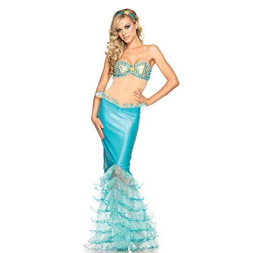 GBYAY Strand Meerjungfrau Kleid Halloween Cosplay Kostüm Prinzessin Disguise Party Bühnenshow Overall Frauen