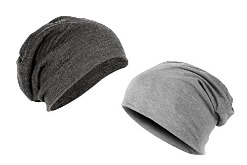 Gajraj Unisex Cotton Beanie Cap (CA-LCA_Grey and Charcoal Grey) (Pack of 2)