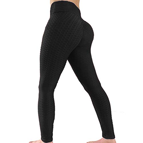 WINNOR Booty Yoga Pants for Women High Waisted Textured Butt Lift Scrunch Leggings Ruched Tights Black
