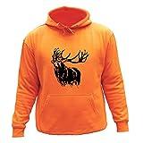 AtooDog - Sudadera de caza, ciervo, regalo para cazador, Manga larga, Niñas, color naranja, tamaño 5-6 Años