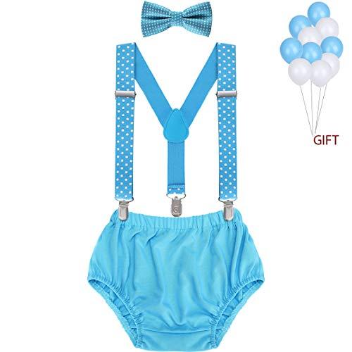 WELROG Baby Jungs Kuchen Smash Outfit - Verstellbare Y Hosenträger & Fliege Girls Bloomers zum 1./2. Geburtstag (Hellblauer Wellenpunkt + Himmelblau)