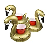 GoFloats Inflatable Pool Drink Holders (3 Pack) Designed in the US | Huge Selection from Unicorn, Flamingo, Palm and More | Float Your Hot Tub Drinks In Style, Gold Swan