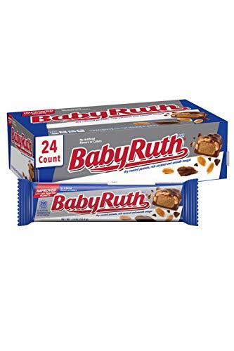 Baby Ruth Milk Chocolate-y Candy Bars, Full Size Bulk Ferrero Candy, Christmas Stocking Stuffers, 1.9 oz (Pack of 24)