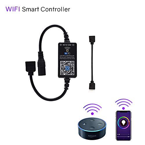 HitLights WiFi Wireless LED Controller, Alexa LED Strip Magic Home Controller – Compatible Google Home IFTTT, Working with BRG GRB 5 – 24V LED Strip Lights