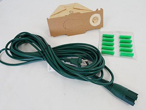 6 Staubsaugerbeutel geeignet für Vorwerk Kobold 130 131 + 10m Kabel + 6 Duftstäbchen Grün