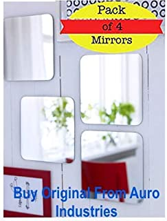 Ikea No Screw Needed 2 Side Tape Mirror 20x20 cm (7 7/8x 7 7/8 Inch)- Pack of 4 Mirrors