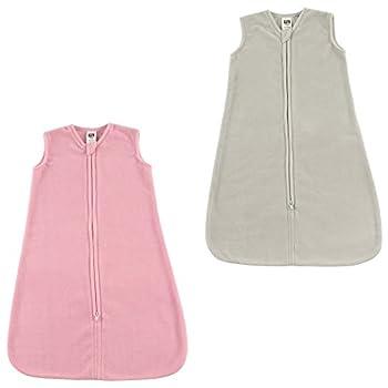 Hudson Baby Unisex Baby Plush Sleeping Bag Sack Blanket Bundle Pink Gray 6-12 Months