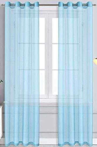 WPM Light Sky Blue Sheer Window Curtain Panels for Bedroom, Kitchen, Kids Room- Solid Semi Voile Drapes Grommet Living Room Panels. Set of 2 (Lite Blue, 54W X 84L)