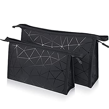 2 Pieces Lightweight Toiletry Bag Waterproof Toiletries Organizer Bag with Zippered Classic Travel Cosmetic Bag for Traveling Bathroom Gym  Black