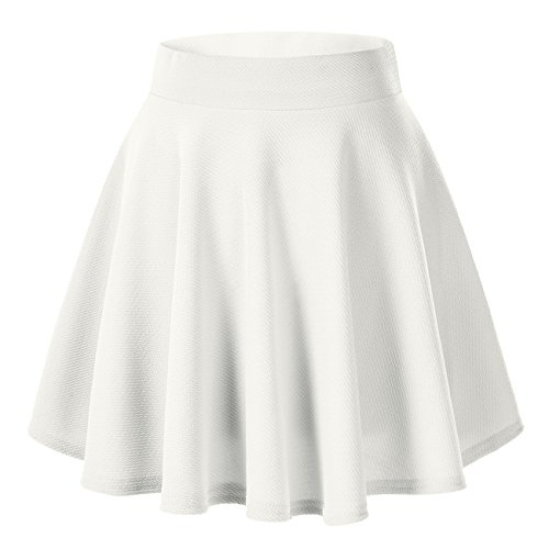 Urban CoCo Women's Basic Versatile Stretchy Flared Casual Mini Skater Skirt (Small, White)