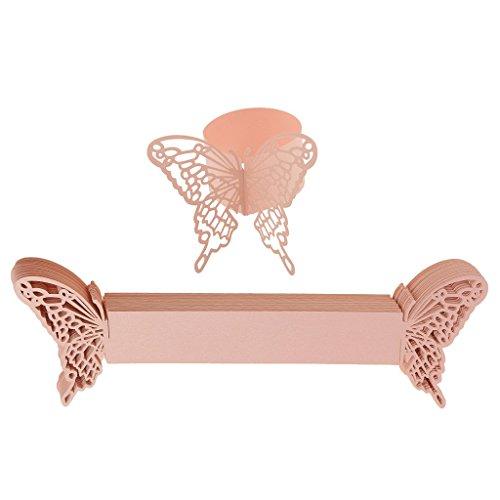 Tenlacum Serviettenringe aus Papier, Schmetterling, hohl, für Hochzeit, Party, Geschirr, Dekoration, Rosa, 50 Stück
