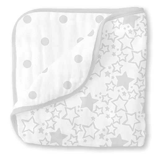 SwaddleDesigns 4 couches en mousseline Luxe Couverture, Sterling Starshine/French Dots, Cuddle et Dream