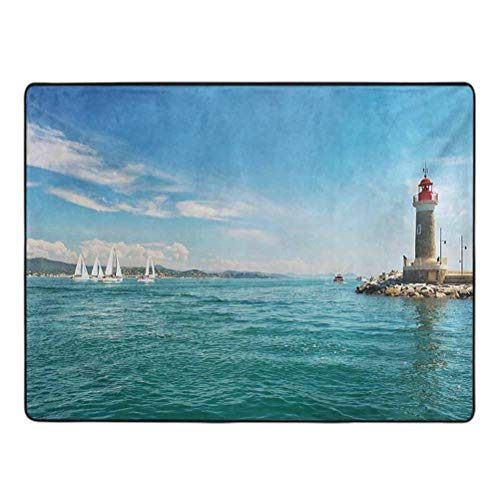 Lighthouse Bedroom Area Rug Day by The Seaside Sailboats Lighthouse Rocks Clear Sea Clouds Island Seascape Carpets for Children Bedroom 5' x 7' Multicolor