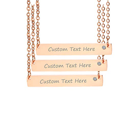 VNOX Customize Minimalist Dainty Rose Gold Plated Stainless Steel Horizontal Bar Friendship Necklace Set for 3