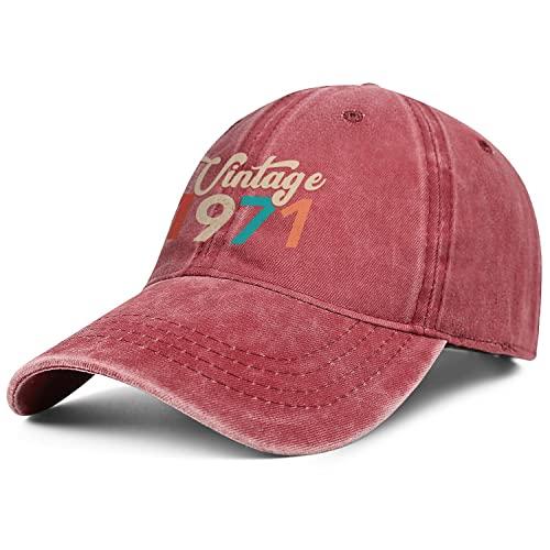 Vintage 1971 Denim Baseball Hats for Men Women-Novelty Travel Sun Cap Snapback Adjustable