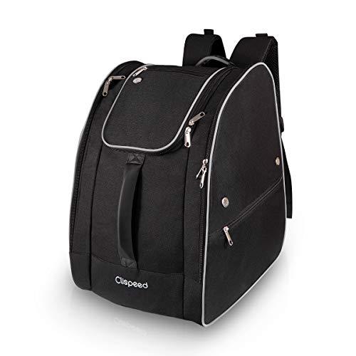 CLISPEED Skischuhtasche Helmtasche Extra Großer Skitaschen Skiausrüstungsrucksack für Snowboarden (Schwarz)