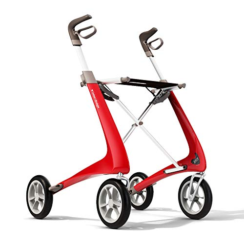 byACRE Carbon Ultralight Rollator Walker with Organizer Bag, red, Regular Track