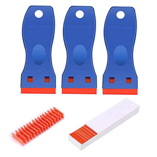 BEoffer 3 Pack Plastic Razor Blade Scrapers + 100 Pack Plastic Replacement Blades Stickers Decals Paint Labels Scraper Removal Tool for Auto Window Glass Tint Vinyl Tool NO Scratched