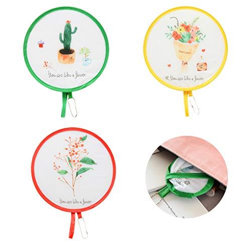 Rolin Roly 3Pcs Runder Faltender Fan Handfächer Dekorative Faltbare Handheld Fans Tuch Outdoor Taschenfächer (Zufällige Farbe)