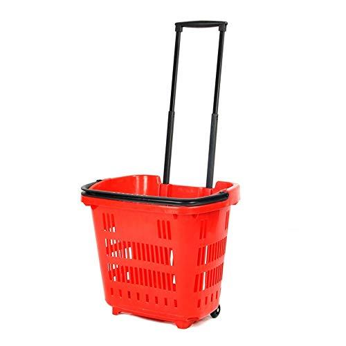 Storage trolley Faltbarer Einkaufswagen, Einkaufswagenwagen Mit Radeinkaufskorb Picknickkorb Einkaufskorb Einkaufswagen Zweiradkorb (Color : Red)