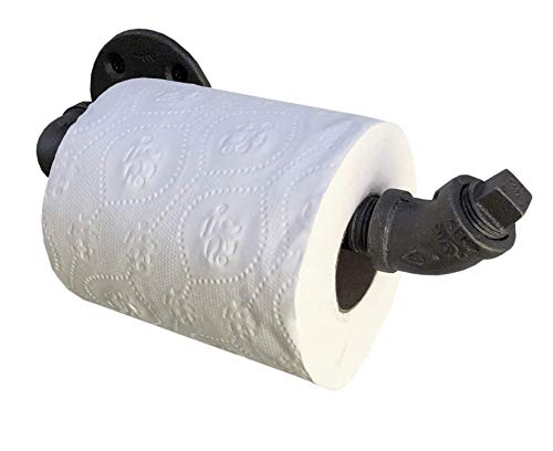 Soporte Industrial para Papel higiénico, Hierro maleable Negro, Resistente, Muebles Modernos, Minimalistas, rústicos, Steampunk e industriales (1 Rollo (ángulo de 45 Grados))