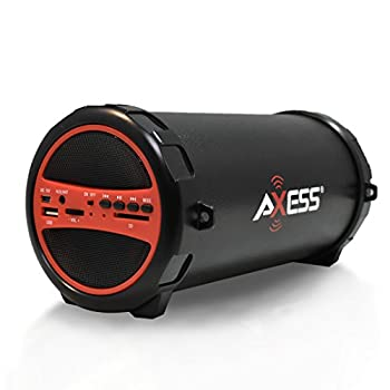 AXESS SPBT1031 Portable Bluetooth Indoor/Outdoor 2.1 Hi-Fi Cylinder Loud Speaker with Built-In 3  Sub and SD Card USB AUX Inputs in Red