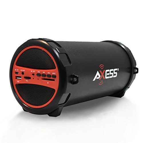 "AXESS SPBT1031 Portable Bluetooth Indoor/Outdoor 2.1 Hi-Fi Cylinder Loud Speaker with Built-In 3"" Sub and SD Card, USB, AUX Inputs in Red"