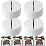 4-Pack 3D Night LED Light Lamp Base + Remote Control + 1 Blank Acrylic+ USB Cable Adjustable 7 Colors Decoration Maison Decorative Lights for Bedroom Child Room Living Room Bar(White)