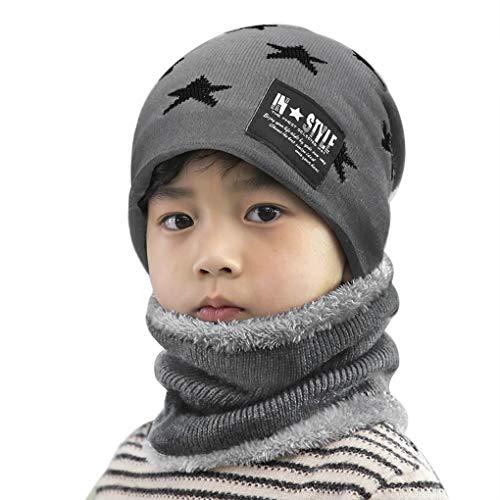 Enfant Bonnet hiver avec Snood Tricoté Chapeau Unisexe Beanie Hiver Chaud Doublure en Polaire Echarpe pour Fille garçon Cadeau fête