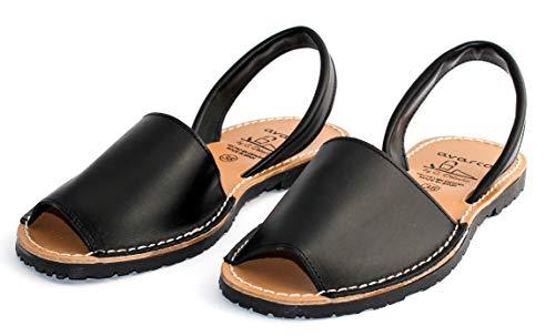 Avarcas dames leren sandalen plat Menorquinas zwart 35 36 37 38 39 40 41 42