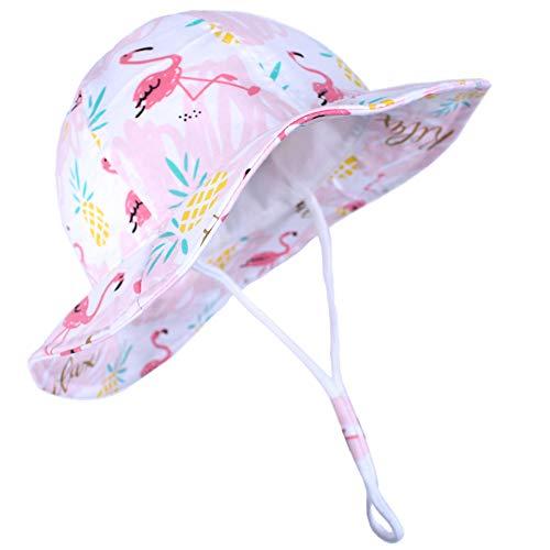 Funnycokid Baby UPF 50 Sonnenhut Flamingo Grafikmuster Mädchen Sommerhut Kinderkappen (3-7 Jahre)