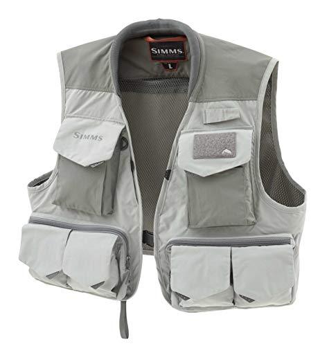 Simms Freestone Fishing Vest, 19 Pocket Sleeveless Vest, Smoke, Large