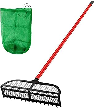 """VEVOR Sand Rake 65 inches Pole Beach Rake Red Iron Lake Weed Rakes 16x5"""" Aquatic Weeds Muck Sand Flea Rakes Weed Cleaning Tool for Beach Lake Pond River Landscaping with Detachable Pole and Net"""