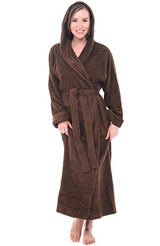 Alexander Del Rossa Womens Turkish Terry Cloth Robe, Long Cotton Hooded Bathrobe, 1X-2X Chocolate Brown (A0127WCT2X)