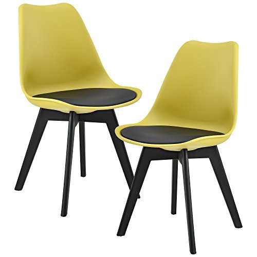 [en.casa] 2 x Sedie Sala da Pranzo (Color Senape/Nero) per Sala da Pranzo/Salotto/Cucina - Set