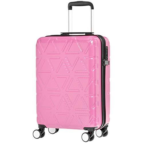 AmazonBasics Pyramid Hardside Carry-On Luggage Spinner Suitcase with TSA Lock - 22 Inch, Pink