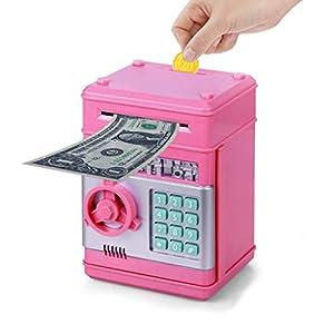 Wenosda Huchas Caja de Dinero Cajero Automático Electrónico Desplazamiento Moneda en Efectivo Hucha Contraseña Cajas de Seguridad Caja Fuerte, para Niñas Niños Cumpleaños (Rosa)
