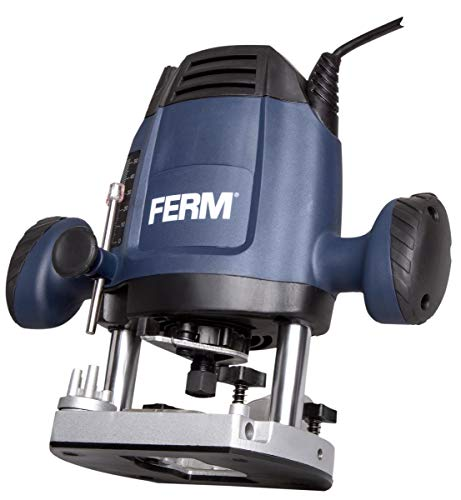 FERM Oberfräse 6,8 mm - 1200W - Variable Geschwindigkeit - 3m Kabel - Inkl. 3-teiliges Fräserset, Kopierring, Parallelführung und Übergabepunkt