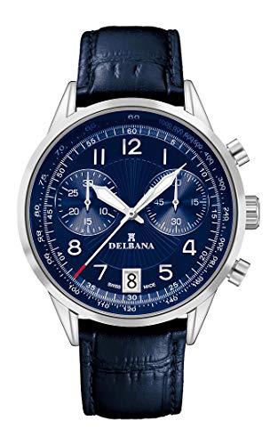 Delbana Herrenuhr/Chronograph, Analog, Quarz, Lederarmband - 420007 (blau)