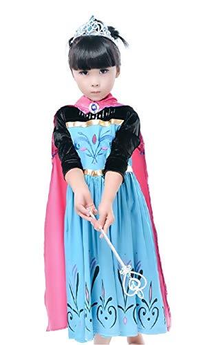 Maat 120-4/5 jaar - kostuum - carnaval - halloween - elsa - meisje - met zwart fluwelen mouwen en cape - frozenen frozen