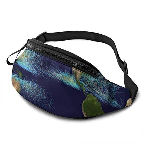 AOOEDM Global Tropical Cyclone Tracks Mode Lässige Taillentasche Gürteltasche Travel Bum Bags Lauftasche für Männer Frauen