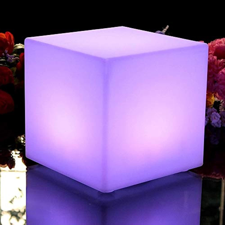 Paddia Europische Bunte Garten Lichter Stehlampe Stehtisch LED Wiederaufladbare Farbwechsel Stimmungslicht Fernbedienung, Einstellbare 16 RGB 4 Helligkeit Lampe, Wasserdichte Cube Hocker Dekorative L