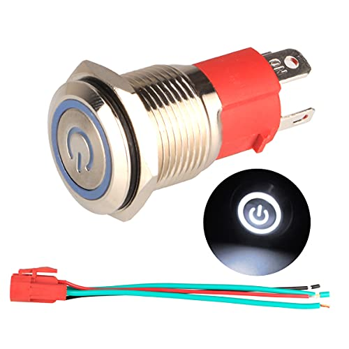 GUUZI 220V-230V / 15A Interruptor de Botón de Enclavamiento NO, Impermeable Luz LED Blanca Iluminada Botón de Encendido de Metal de 16 mm con Cable de Enchufe