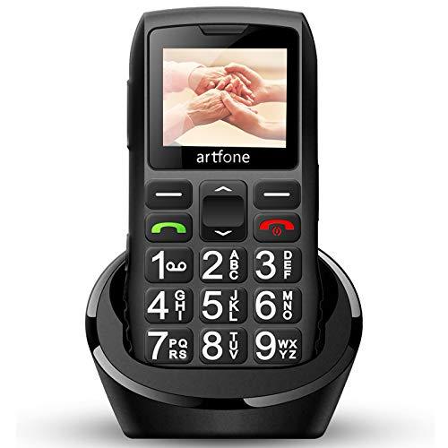 artfone C1 Plus - Teléfono móvil para personas mayores sin contrato, teclas grandes con doble SIM, batería de 1400 mAh, largo tiempo espera, teléfono 2G GSM estación carga mesa