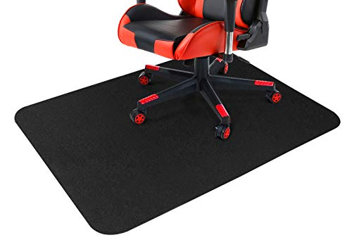 Gtracing Office Chair Mat for Hardwood and Tile Floor 47 x 35 inch, Under The Desk Mat for Rolling Chair and Computer Desk, Anti Slip, Non Curve, Black