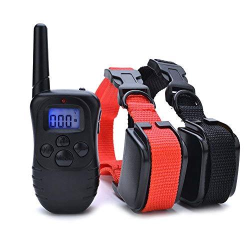Wodondog Collar de Adiestramiento para Perros, Resistente al Agua con vibración y Sonido, Rango Remoto de 300 Metros - 2 Collars