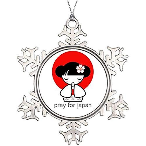 Diuangfoong Tree Branch Decoration Pray for Japan Kokeshi Doll Outdoor Christmas Snowflake Ornaments Japanese