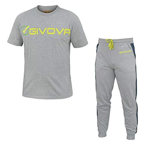 tuta uomo pantalone lungo mezza manica 100% cotone GIVOVA art. G501 (XL, navy/grigio)